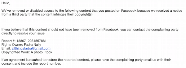 Facebook violation email