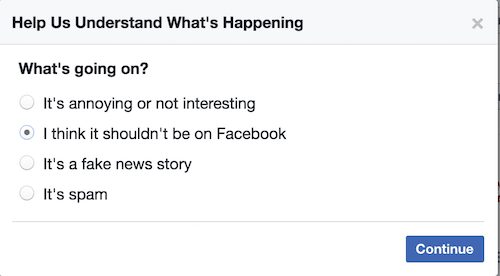 Reporting an ad on Facebook