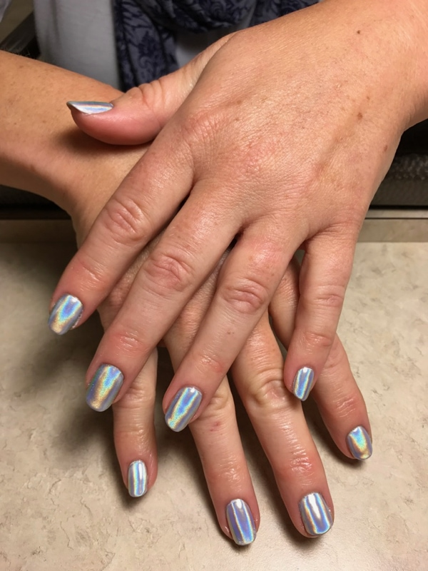 Holographic gel nails from Darrell Barrett Salon