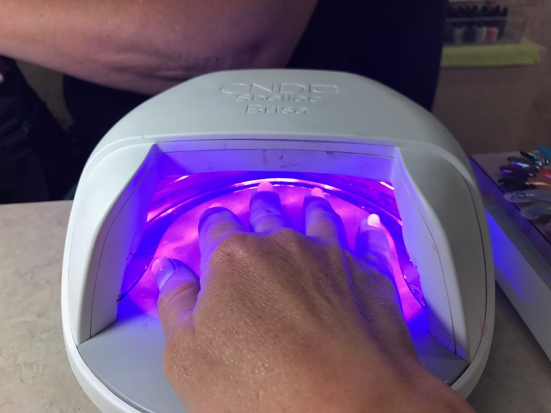 UV light on my nails - Darrell Barrett Salon