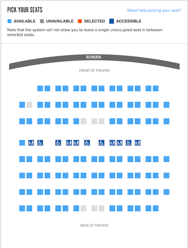 Dolby Cinema seat map
