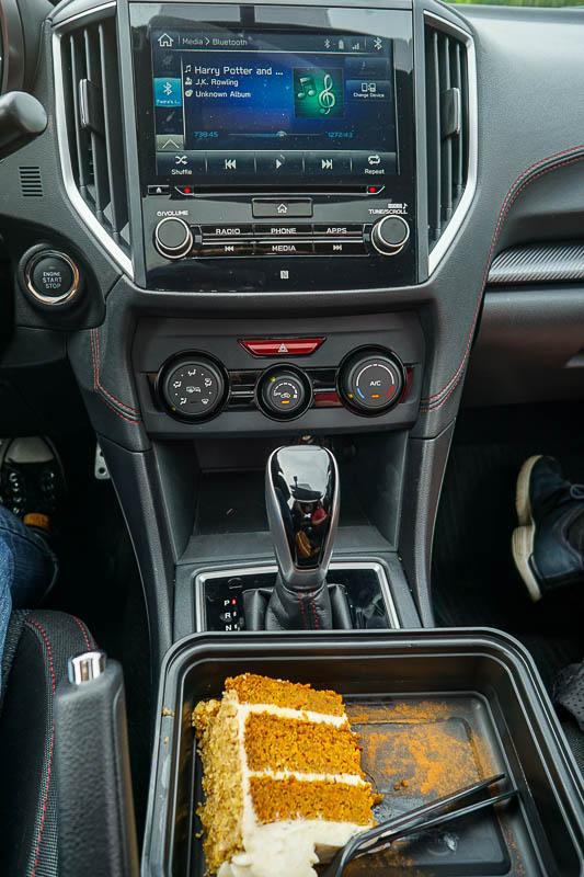 Eating carrot cake in the 2017 Subaru Impreza