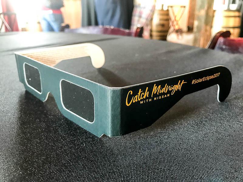 Solar eclipse glasses courtesy of Nissan