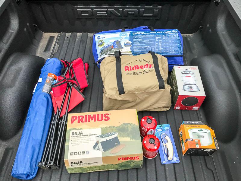 Truck camping supplies - GMC Sierra Denali