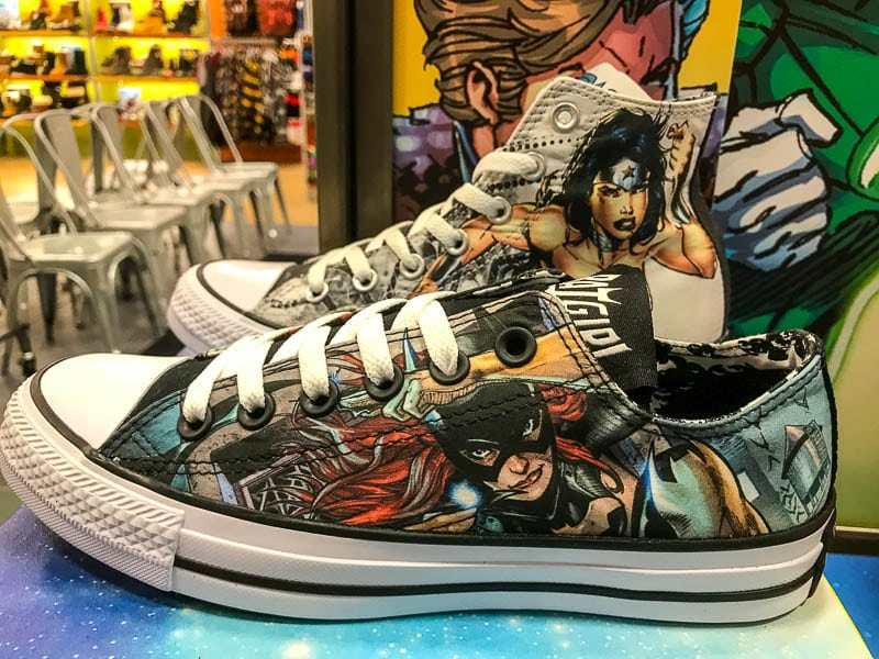 Wonder Woman and Batgirl shoes by Converse at Journeys