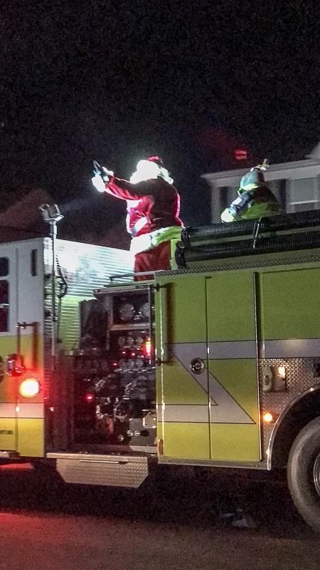 Santa on a fire truck