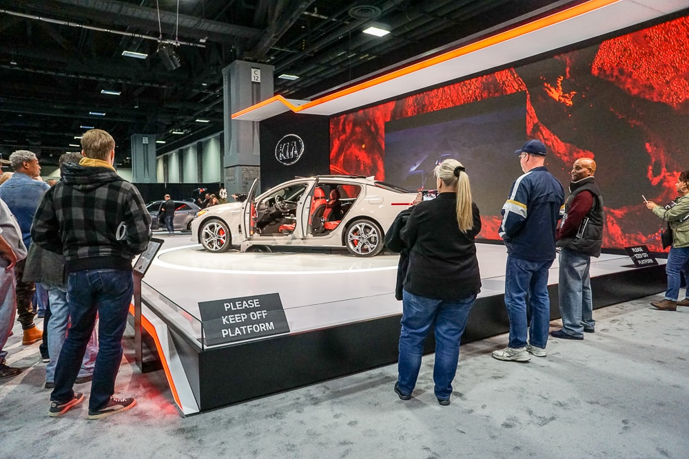 Kia Stinger with crowds Washington Auto Show