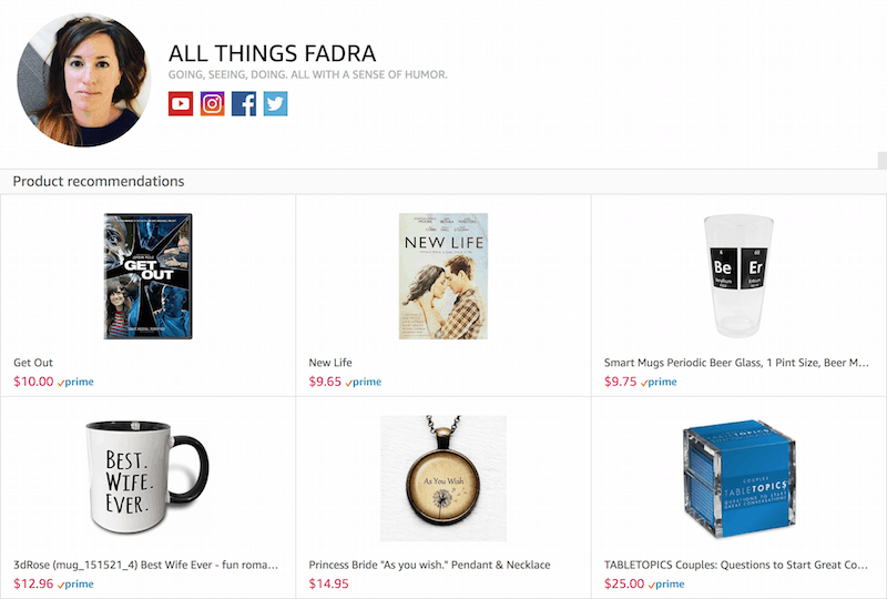 Amazon Influencer Page - All Things Fadra