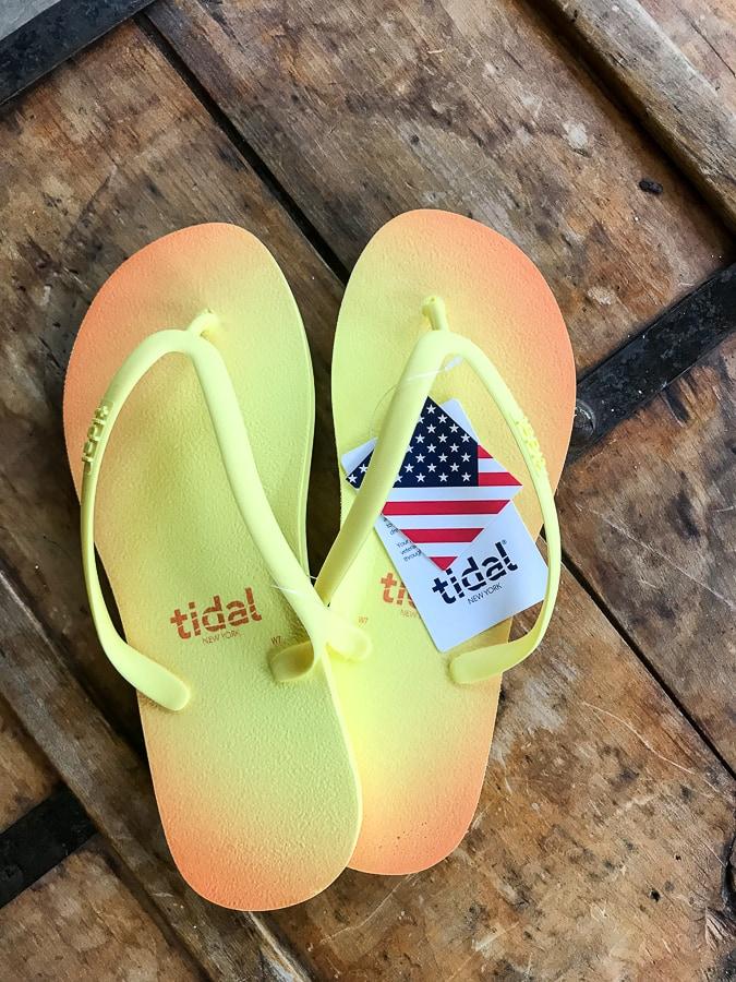 Tidal Flip Flops in yellow