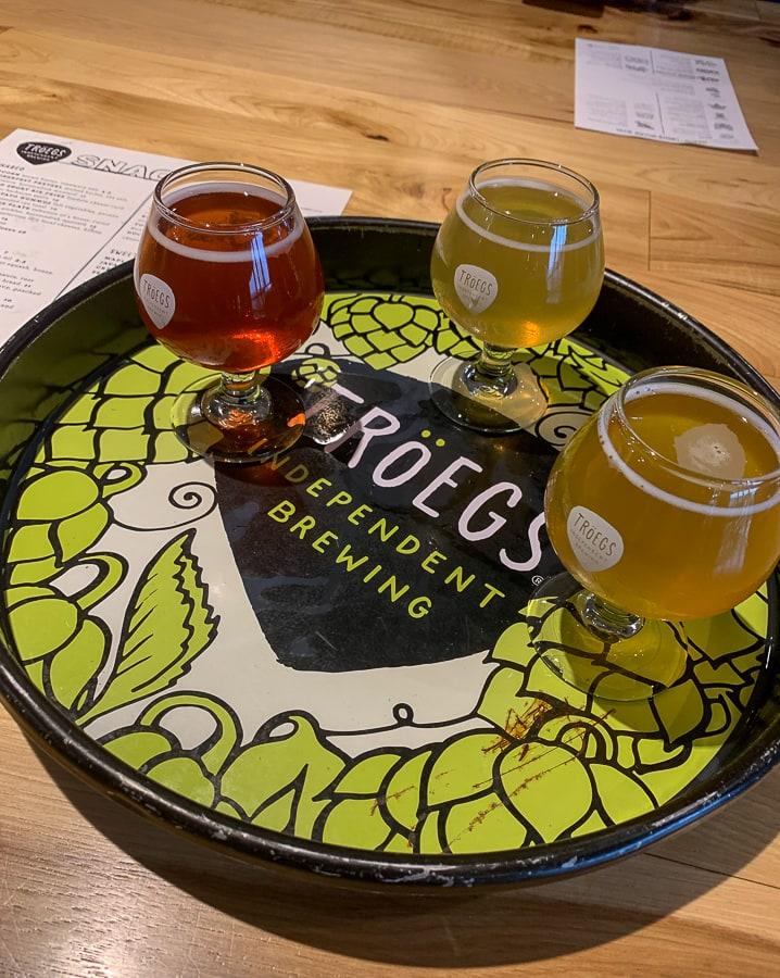 Beer samples at Troeg's Brewery