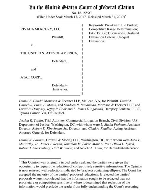 Rivada Mercury Pre-Award Bid Protest / U S  Court Case – All Things