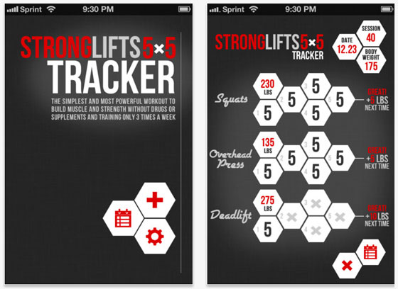 StrongLifts 5x5 iPhone App