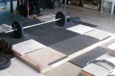 Barbell on Weightlifting Platform