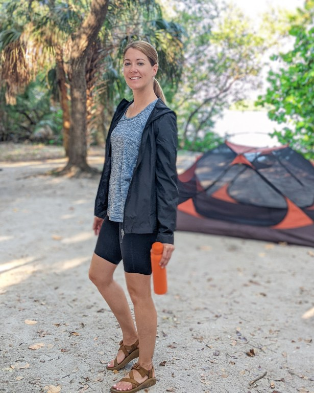 Camping with 32 Degrees racerback tank and light windbreaker.