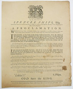 Phips Proclamation. Source: Massachusetts Historical Society