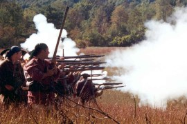 Musket volley. Source Saratoga National Historical Park.