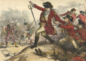 "Hand-colored engraving described as ""The shooting of Major Pitcairn (who had shed the first blood at Lexington) by the colored soldier Salem."" Courtesy of J. L. Bell"