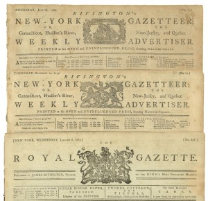 The changing masthead of Rivington's newspaper.