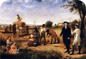 """Washington as Farmer at Mount Vernon"", 1851, part of a series on George Washington by Junius Brutus Stearns. Located at the Virginia Museum of Fine Arts."