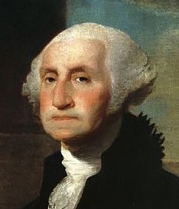 Washington's ill-fitting dentures are obvious in Gilbert Stuart's portrait (1797, detail). Current location: Crystal Bridges Museum of American Art (view full size)