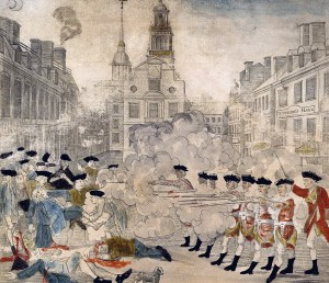 Engraving depicting the Boston Massacre, printed and sold by Paul Revere in 1770. Source: Library of Congress