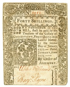 A Connecticut bill of credit from 1775.