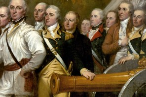 Detail of John Trumbull's famous painting depicting the surrender of British General John Burgoyne at Saratoga (U.S. Architect of the Capitol).