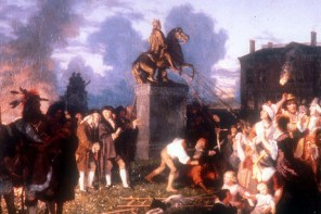 Pulling Down the Statue of King George III, N.Y.C., (c. 1859) A romanticized Victorian era painting with historical inaccuracies: the sculpture is depicted in 1850s garb, and Native Americans, women and children are at the scene.