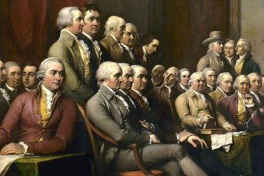 Detail of John Trumbull's painting depicting the Committee of Five presenting their draft of the Declaration of Independence to the Continental Congress .(U.S. Capitol)