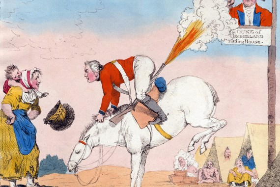 """""""Skirmishing to the rear."""" Bunbury, Henry William, 1750-1811 (artist); Humphrey, William, ca. 1740-ca. 1810 (publisher). Hand colored stipple engraved caricature (after Bunbury); soldier on bucking horse speaking to country woman and child while his musket discharges behind him into face on signboard, soldiers bathing outside tents near camp-followers in right background.(Anne S. K. Brown Military Collection)"""