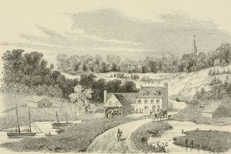 Prior's Mill, near the British lines at Paulus Hook (present-day Jersey City, NJ). Daniel van Winkle, Old Bergen: history and reminiscences with maps and illustrations (Jersey City: The Trust Company of New Jersey, 1920).