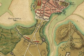 Detail of a 1776 map of Boston showing the British lines on Boston neck. (Library of Congress)