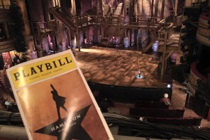 A view of the Hamilton stage at Richard Rodgers Theatre, New York. (Photo by Todd Andrlik)