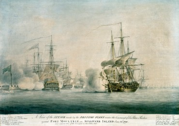 A View of the Attack Made by the British Fleet Under the Command of Sir Peter Parker against Fort Moultrie on Sullivans Island June 28, 1776, and a distant View of the Transports in Five Fathom hole, by Nicholas Pocock, 1783. (South Caroliniana Library, University of South Carolina)