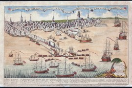 """""""A View of Part of the Town of Boston in New-England and British Ships of War Landing Their Troops! 1768"""" engraving by Paul Revere. (Boston Public Library)"""