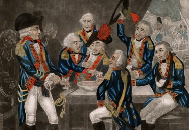 """Hand-colored mezzotint caricature titled """"British soldiers drowning care,"""" 1794. (Anne S. K. Brown Military Collection)"""