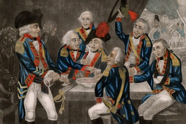 "Hand-colored mezzotint caricature titled ""British soldiers drowning care,"" 1794. (Anne S. K. Brown Military Collection)"