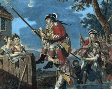 "Detail of ""Troops Fording a Brook"" engraving by John Collet, printed in 1772 (London)"