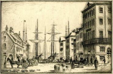 Merchants Coffee House, undated, etching. (New York Historical Society)