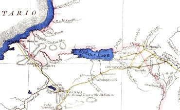 A Map of the Province of New-York…(detail), Engraved by William Faden, 1776. This section shows Lake Ontario in the upper left. Fort Ontario is on its southwestern shore at the town of Oswego. Oneida Lake is in the center and Fort Stanwix (Schuyler) is east northeast of the lake. The river Bell and Freeman kept doubling back too, was probably the Onondaga (now known as the Oneida) River, flowing from the west end of Oneida Lake.