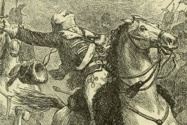 Pulaski mortally wounded by grape shot while leading cavalry charge. (Library of Congress)