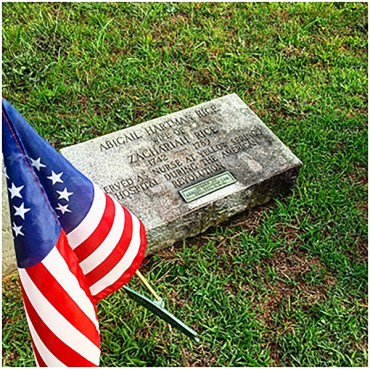 Abigail Hartman Rice's grave in Pikeland, Pennsylvania. (Photo by the author)
