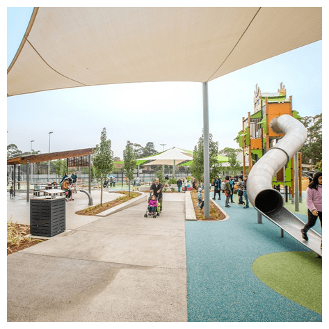 The new Waitara Park Playground has got a 7m tall structure for climbing with slides coming down off the side,  Diabolo multi-play, swings, Trampolines, Carousels, Sensory Flowers and soft surfaces to keep everyone from jarring falls.