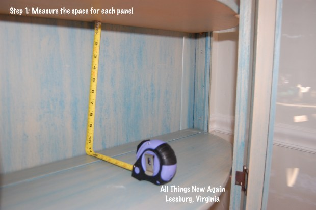 Measuring china cabinet to create temporary fabric panels
