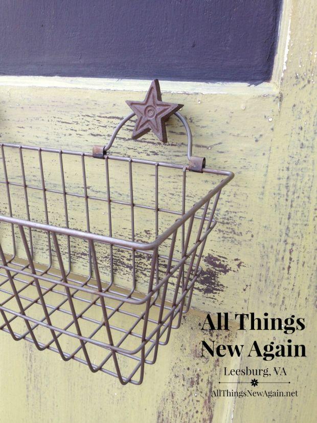 Vintage Door Hardware | Wire Basket | Family Message Center | Rustic Decor | Farmhouse Decor | Vintage Door