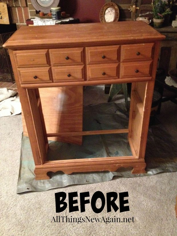 A dresser with missing drawers is perfect to up cycle into a bookcase! Tutorial by All Things New Again
