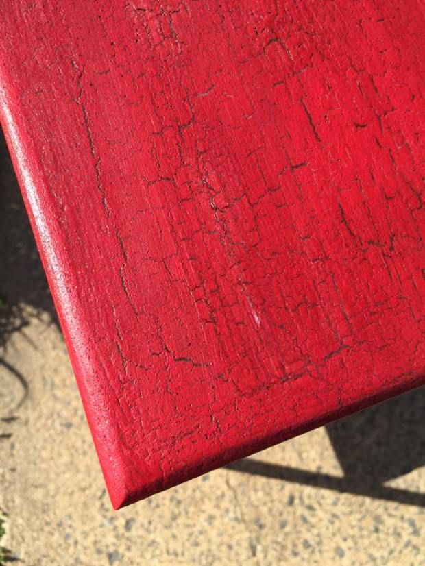 Crackle Paint Finish   Red Table   Real Milk Paint   Flag Red