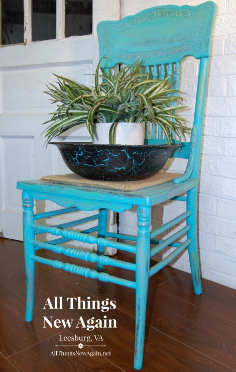 Turquoise Chair with Bowl