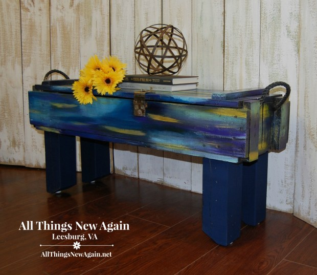 Storage Ideas | Upcycled Furniture | Storage Bench | Box repurposed into storage bench | All Things New Again