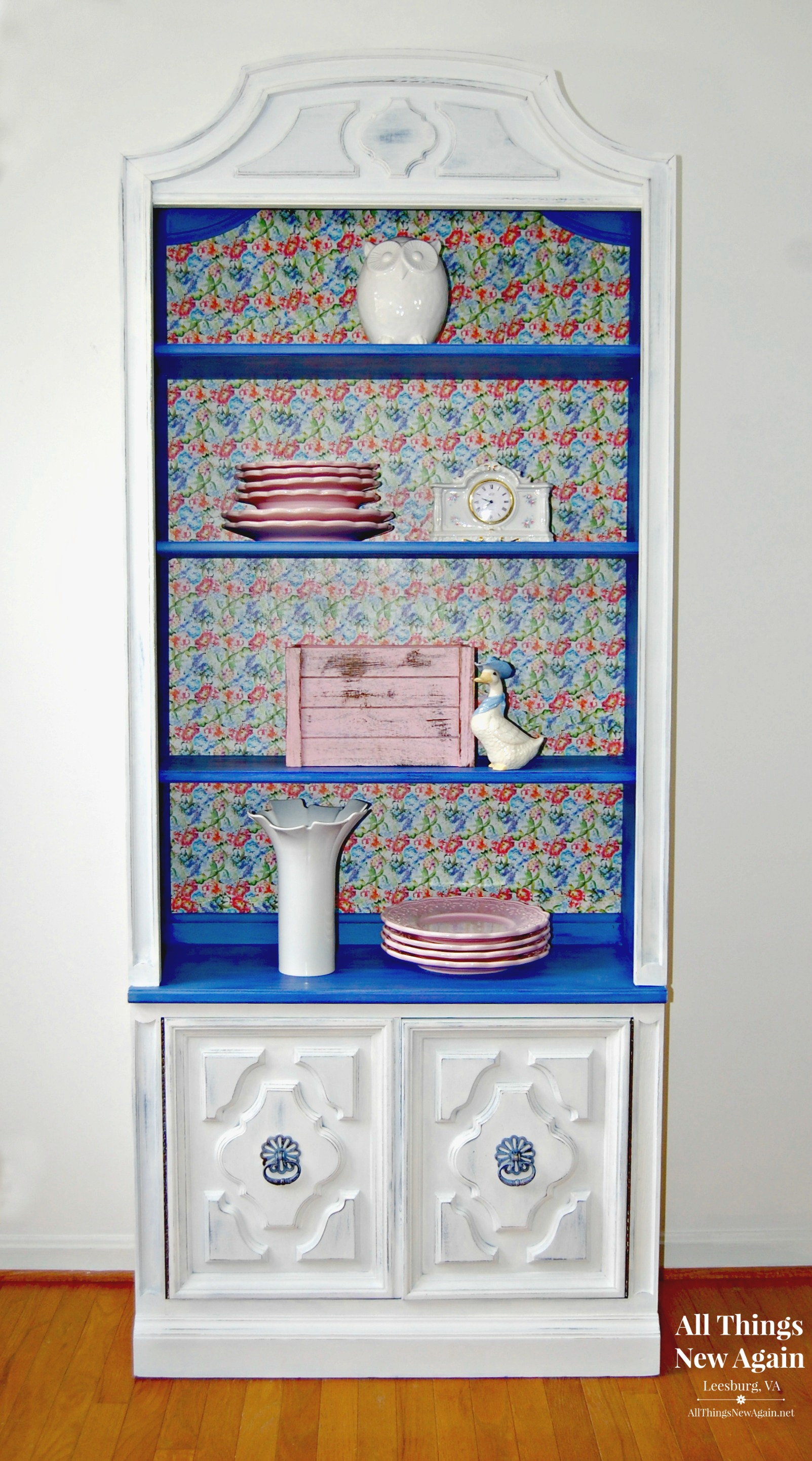 A China Cabinet Paint Makeover (and A Little Decoupage Too